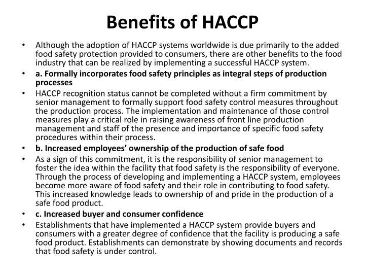 Benefits of HACCP