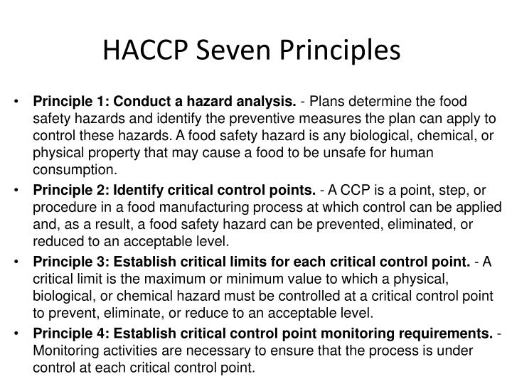HACCP Seven Principles