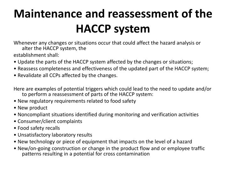 Maintenance and reassessment of the HACCP system