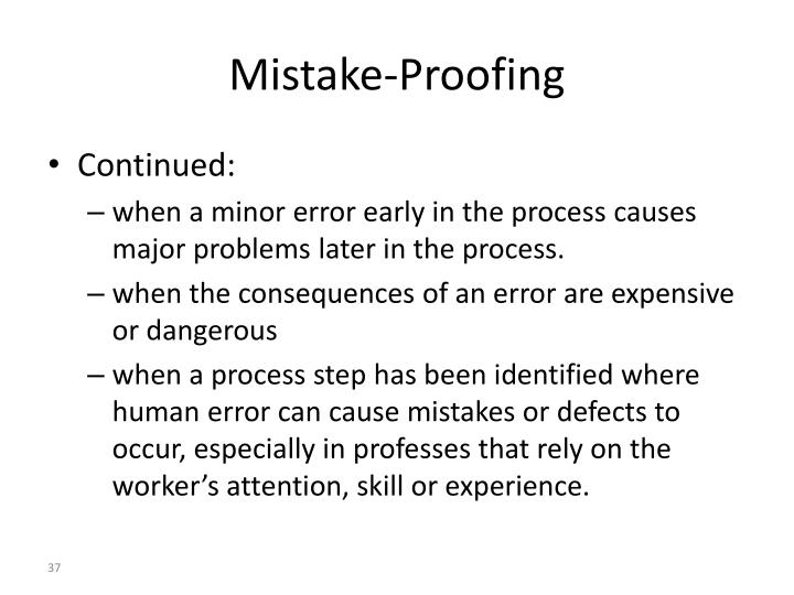 Mistake-Proofing