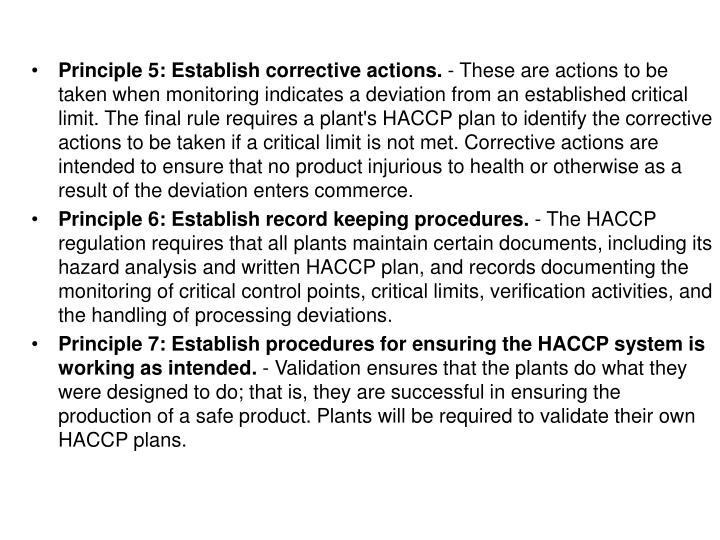 Principle 5: Establish corrective actions.