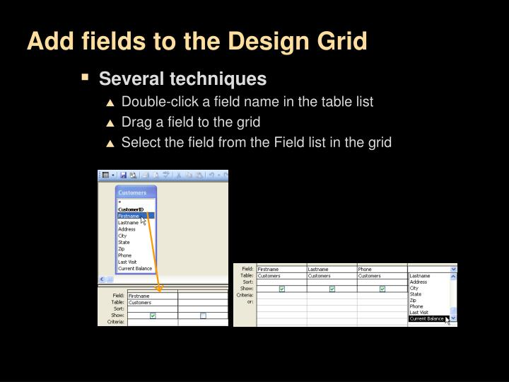 Add fields to the Design Grid