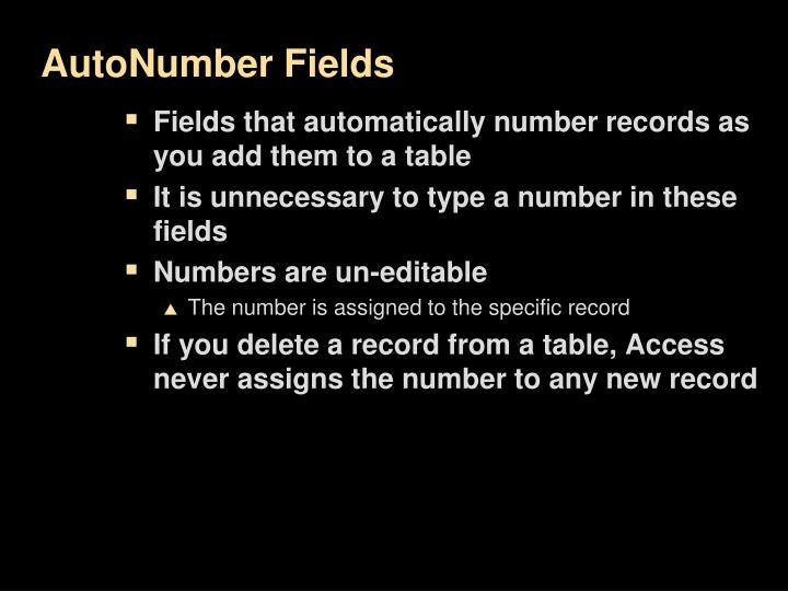 AutoNumber Fields