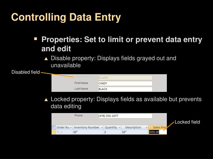 Controlling Data Entry