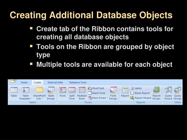 Creating Additional Database Objects