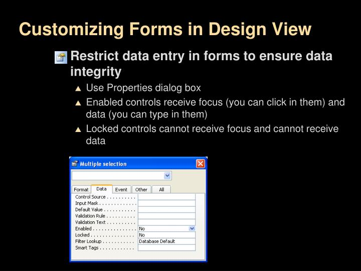 Customizing Forms in Design View
