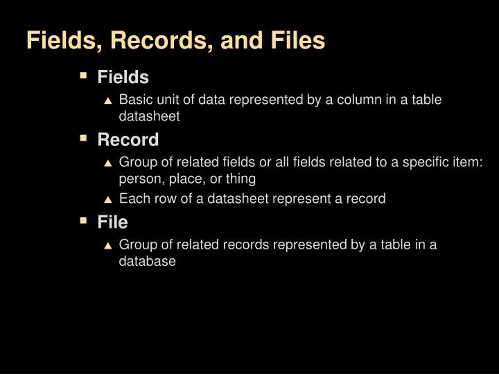 Fields, Records, and Files