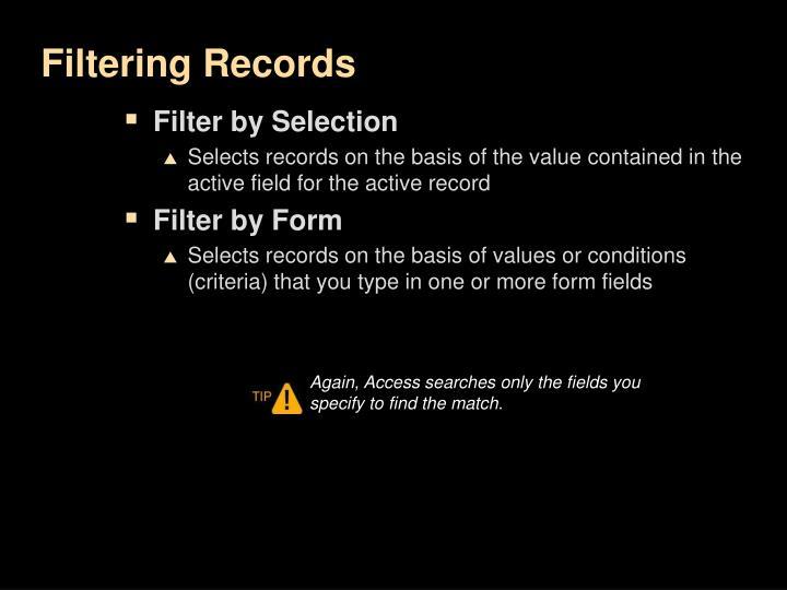 Filtering Records