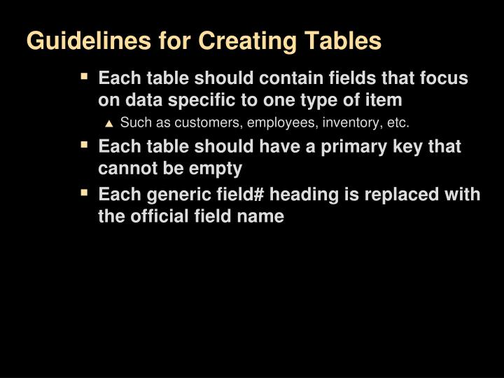 Guidelines for Creating Tables