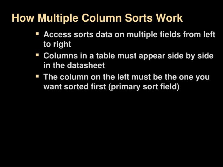 How Multiple Column Sorts Work