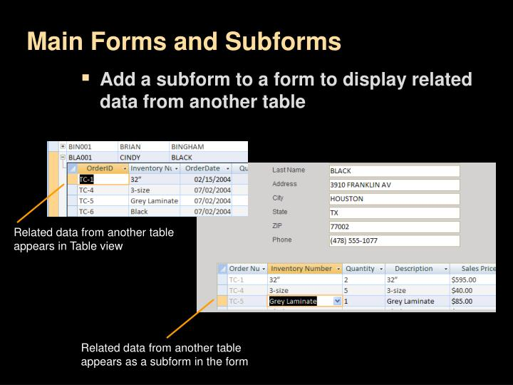 Main Forms and Subforms