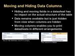 moving and hiding data columns