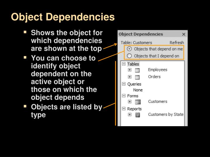 Shows the object for which dependencies are shown at the top