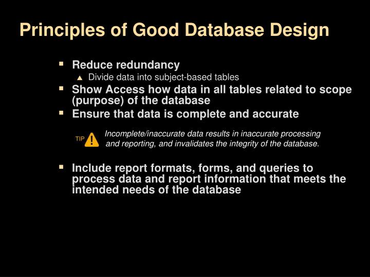Principles of Good Database Design