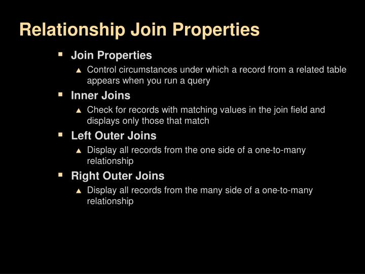 Relationship Join Properties