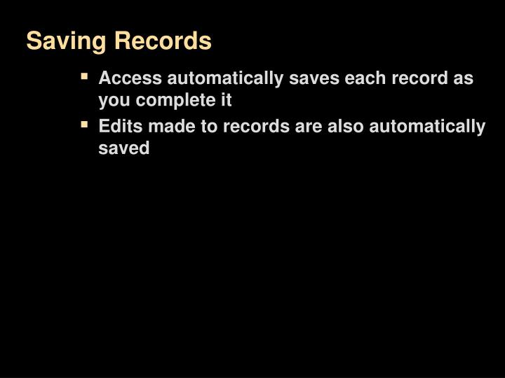 Saving Records