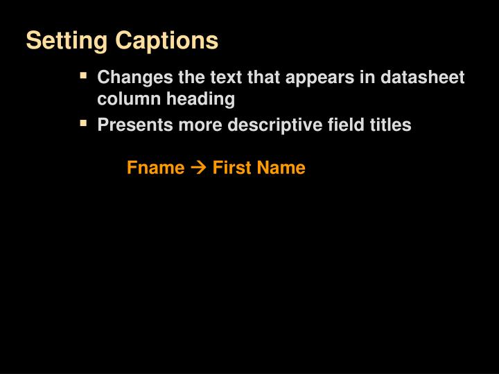 Setting Captions