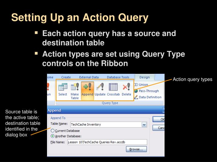 Setting Up an Action Query