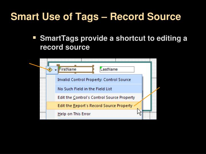 Smart Use of Tags – Record Source