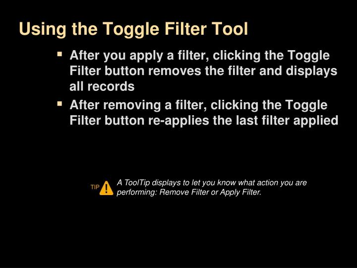 Using the Toggle Filter Tool