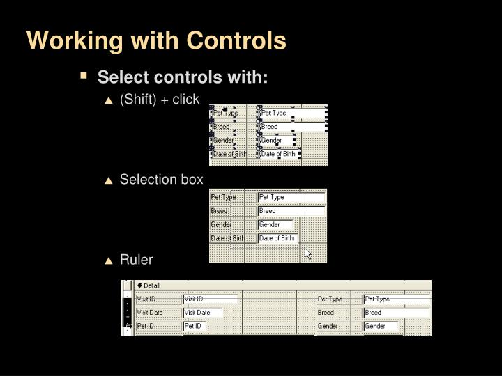 Working with Controls