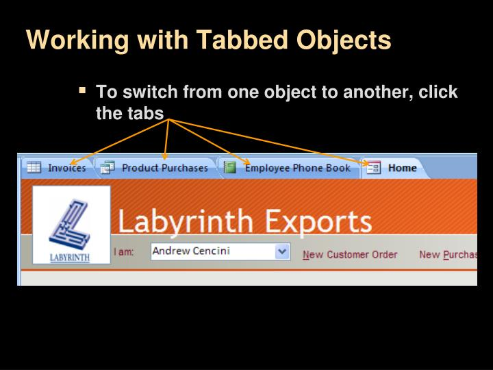 Working with Tabbed Objects