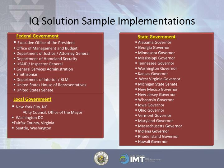 IQ Solution Sample Implementations