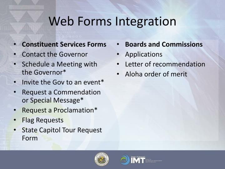 Web Forms Integration