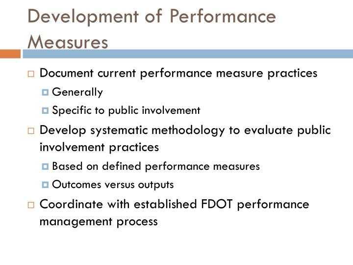 Development of performance measures