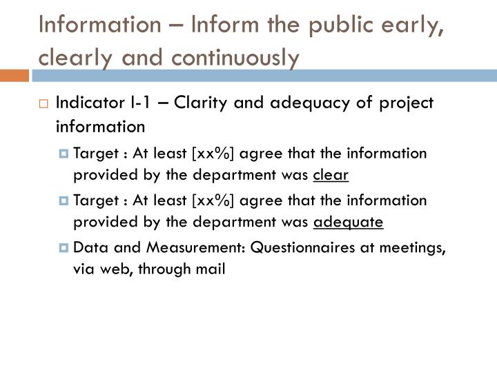 Information – Inform the public early, clearly and continuously