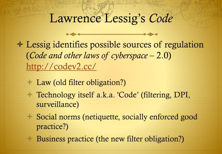 Lawrence lessig s code