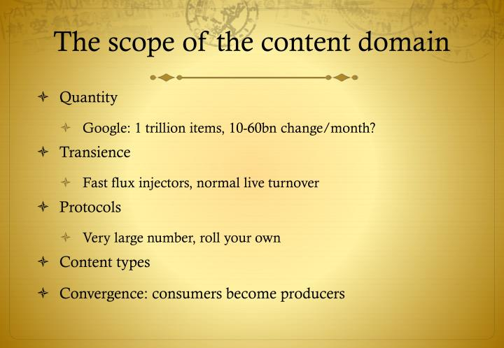 The scope of the content domain