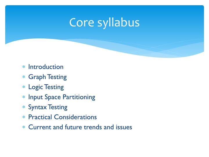 Core syllabus