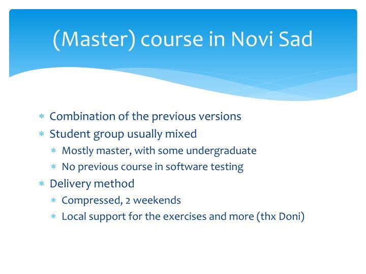 (Master) course in Novi Sad