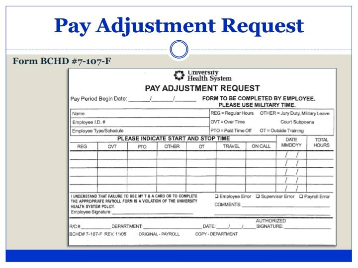 Pay Adjustment Request