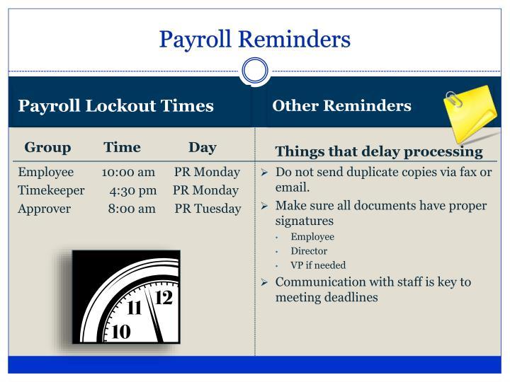 Payroll Reminders