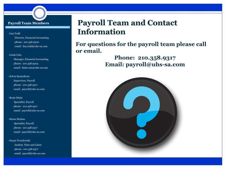 Payroll Team Members
