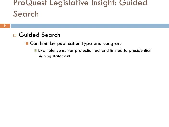 ProQuest Legislative Insight: Guided Search