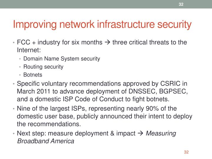 Improving network infrastructure security