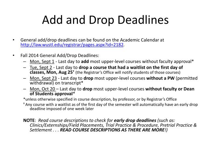 Add and Drop Deadlines