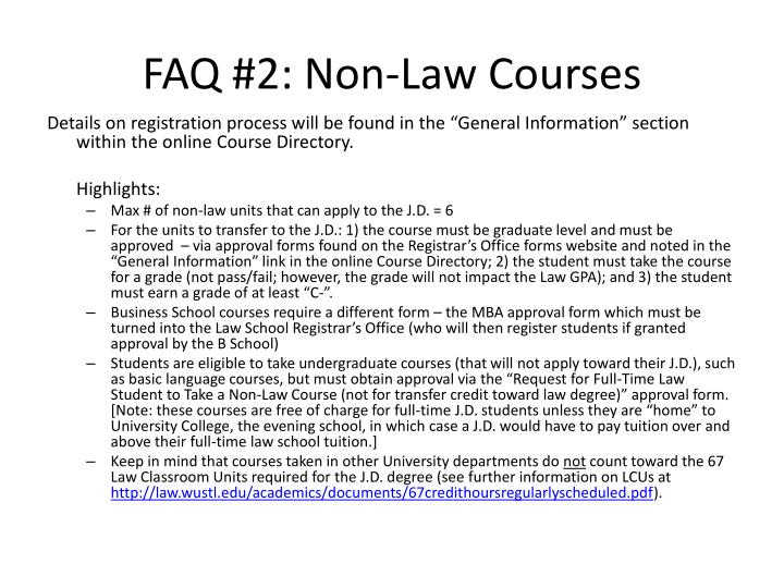 FAQ #2: Non-Law Courses