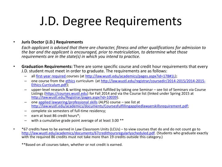 J.D. Degree Requirements