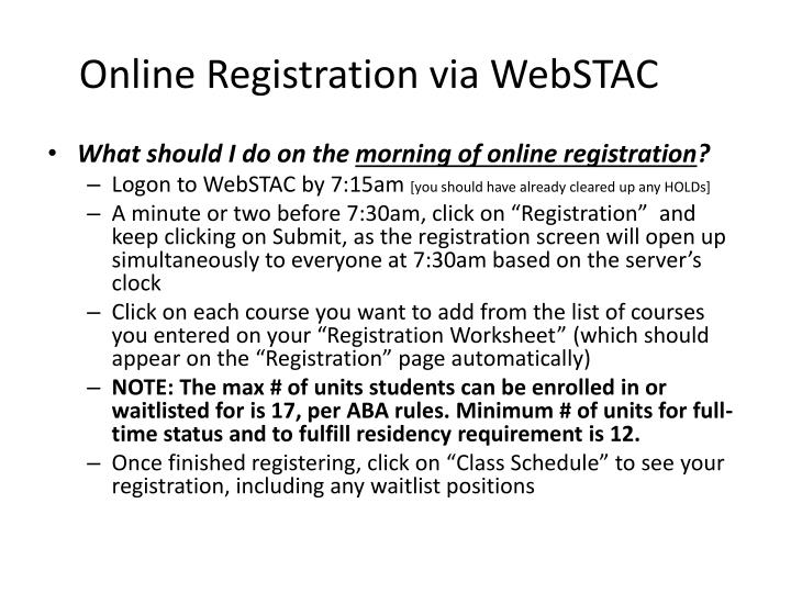 Online Registration via WebSTAC