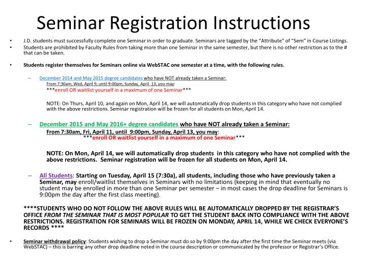 Seminar Registration Instructions