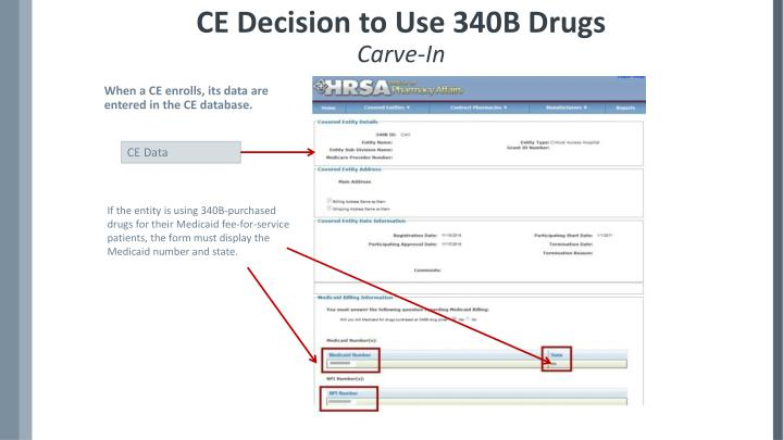 CE Decision to Use 340B Drugs