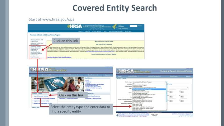 Covered entity search