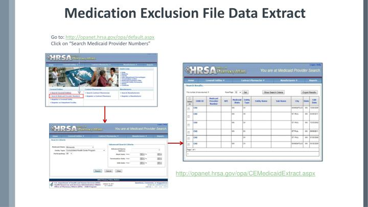 Medication Exclusion File Data Extract