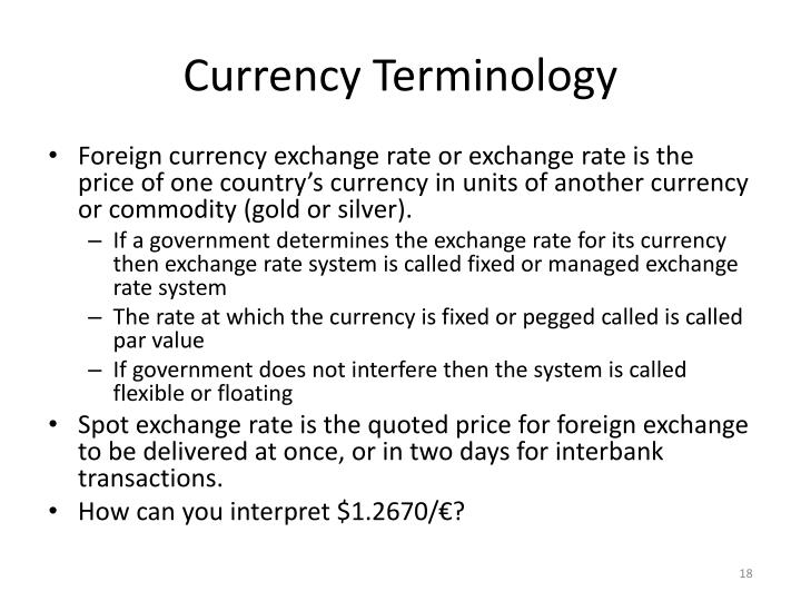 Currency Terminology