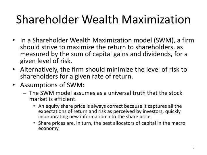 Shareholder Wealth Maximization