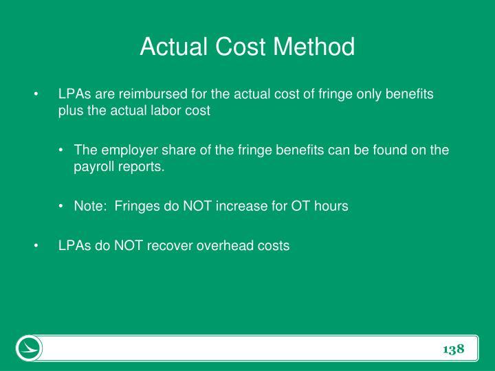 Actual Cost Method
